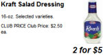 salad dressing for 2.50 a bottle