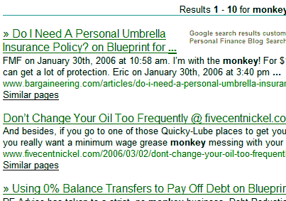 personal finance blog search engine results for monkey