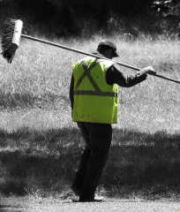 man with a big broom