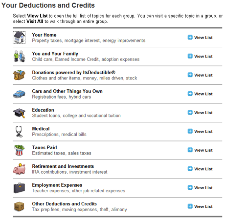 turbotax personal deductions screenshot