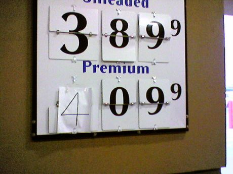 sams club gas price sign with handwritten four
